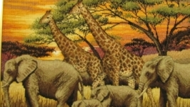 Вышитая картина, вышивка Африка