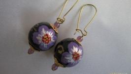Серьги Фиолетовый цветок