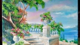 Средиземноморский мотив Картина Терраса с видом на море...