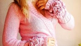 Авторская кофта на запах ′ Розовый вечер ′