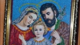 Мария и Иосиф с Иисусом бисером