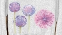 Ручная роспись свитшот с цветами отличный подарок на день рожденье
