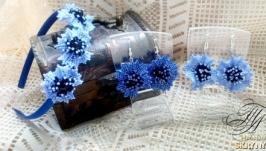 Цветочки Васильки из бисера