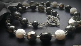 Черное серое белое ожерелье Ночь