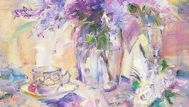 Картина маслом Сиреневое утро