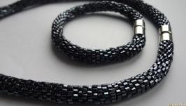 Гематитовый змеиный набор из колье-жгута и браслета