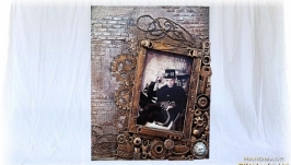 Фоторамка в стиле steampunk оригинальный подарок мужчине на день рождения