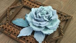 Джинсовая роза, заколка- брошь