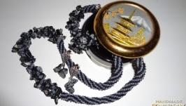 Набор Променад: серьги-пуссеты, колье и браслет из камней снежного обсид