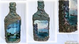 Оформление бутылки в морском стиле Бухта Преображение