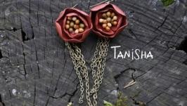 Серьги Цветок с цепями