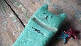 Чохол для телефона з натуральної вовни Котик бірюзовий