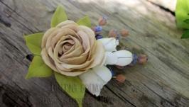 Бутоньерка Роза и лаванда