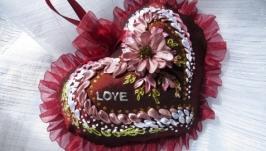 Сердце вышивка лентами