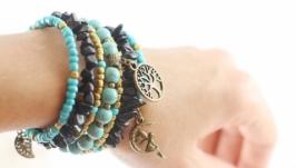 Широкий черный голубой браслет с подвесками, натуральной бирюзой и агатом