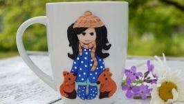 Кружка декорированная полимерной глиной Девочка с лисами