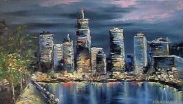 Картина маслом ′Ночной город′