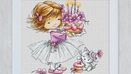 Вишита картина ′Дівчинка з тортиком і котиком′