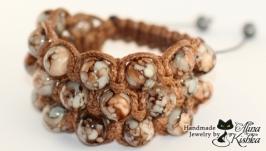 Крупный коричневый широкий плетеный браслет Тройная шамбала кофейного цвета