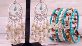 Крупные светлые серьги в стиле бохо. Сережки с натуральным камнем