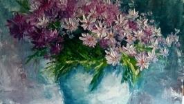 Картина маслом ′Букет розовых ромашек′
