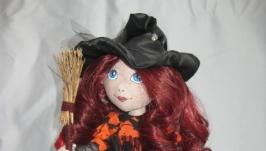 Текстильная, интерьерная кукла Ведьмочка.