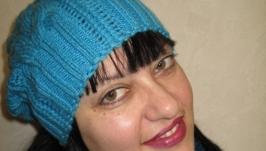 Шапка с косами ручной работы вязаная спицами ′Морозное утро′