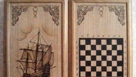 Нарды юбилейные(с шахматной доской)