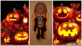 Black Dreamcatcher halloween orange mosaic Dream Catcher Large Dreamcatcher