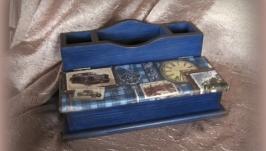 Подставка для письменных приборов Синее ретро