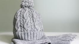 Вязаный комплект шапка и шарф (шерсть мериноса 35%, мохер 35% и акрил 30%)
