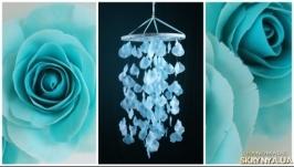 Blue Rose petals Baby Mobile handmade exclusive Dreamcatcher