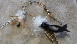 Шнур для волос с перьями
