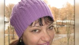 Шапка с косами ручной работы вязаная спицами ′Лаванда′