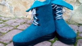 Эко ботиночки из шерсти Бирюза в серебре