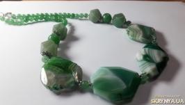 Бусы крупный зеленый агат и нефрит