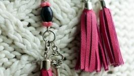 Комплект із сережок і підвіски на мобільний рожевий