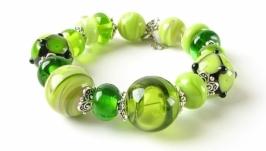 Браслет зеленый лэмпворк