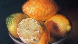 Картина масло ′Лимони в чашці′