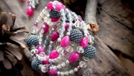 Комплект украшений (браслет и серьги) ′Фрезия′