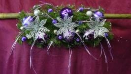 Новогодняя гирлянда серебряные цветы