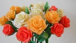 Букет кустовых роз из холодного фарфора. Интерьерная композиция.