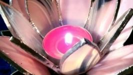 Витражный подсвечник ′Водяная лилия′(розовая)