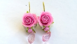 Серьги с розовыми розочками
