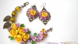 Комплект с сиренью и желтыми розами Весенний ажур