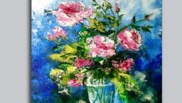 Картина маслом ′Букет чайных роз′