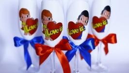 Бокалы для шампанского Love is
