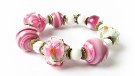 браслет лэмпворк розовый