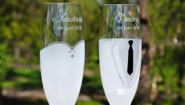 Свадебные бокалы для шампанского (Bohemia).