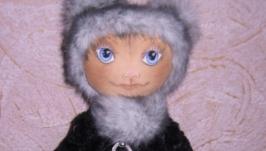 Киска Анфиска, текстильная авторская игрушка ручной работы